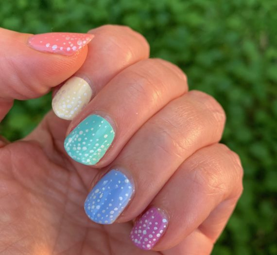 Speckled Skittle Manicure For Easter