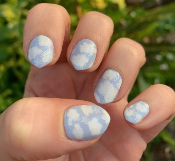 Fluffy White Clouds Nail Art