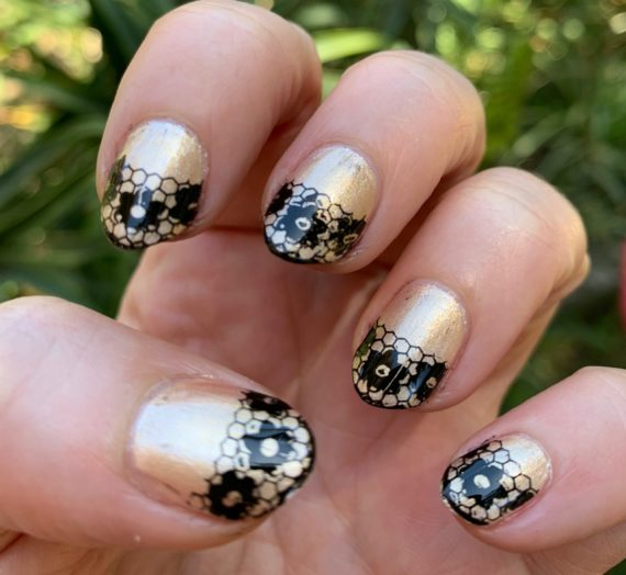 Black Lace Tips – Stamped Nail Art